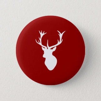 Red and White Christmas Deer Stag Head 6 Cm Round Badge