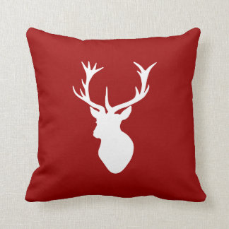 Red and White Christmas Deer Stag Head Cushion