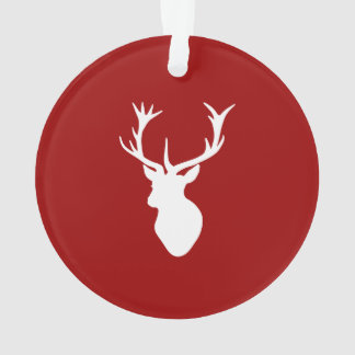 Red and White Christmas Deer Stag Head Ornament