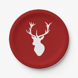 Red and White Christmas Deer Stag Head Paper Plate