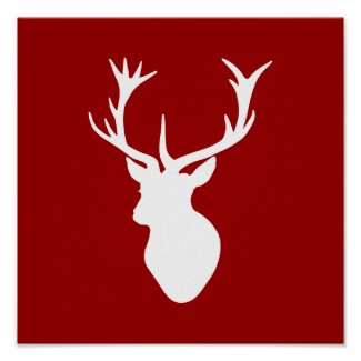 Red and White Christmas Deer Stag Head Poster