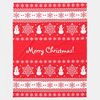 Red and White Christmas Fleece Blanket