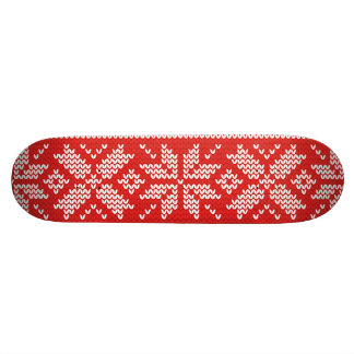 Red and White Christmas Knitted Pattern Skate Deck
