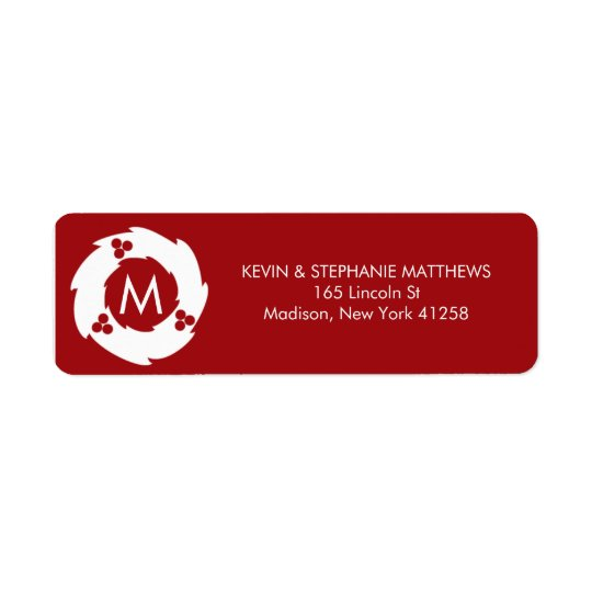 Red and White Christmas Monogram Return Address Label