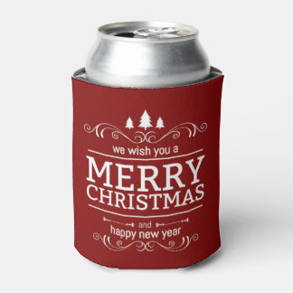 Red And White Christmas New Year Can Cooler