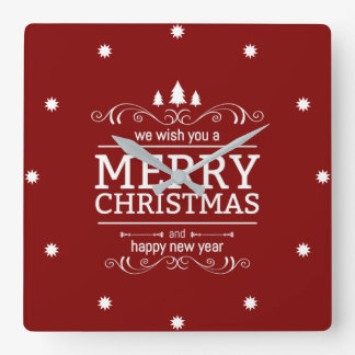 Red And White Christmas New Year Square Wall Clock