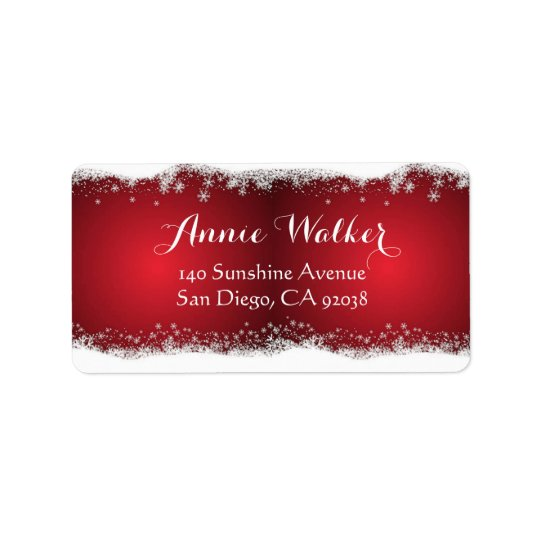Red And White Christmas Pattern Label