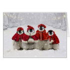 Red and White Christmas Penguins Design Card