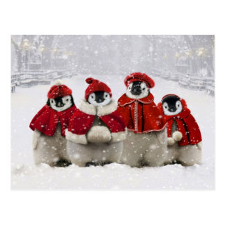 Red and White Christmas Penguins Design Postcard