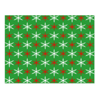 Red and white christmas snowflakes pattern postcard