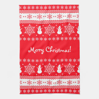 Red and White Christmas Tea Towel