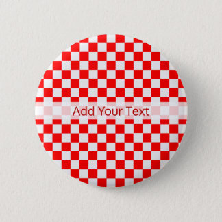 Red And White Classic Checkerboard by STaylor 6 Cm Round Badge