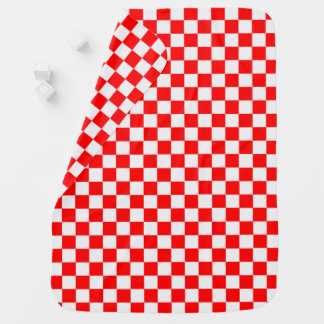 Red And White Classic Checkerboard by STaylor Buggy Blanket