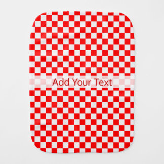 Red And White Classic Checkerboard by STaylor Burp Cloth