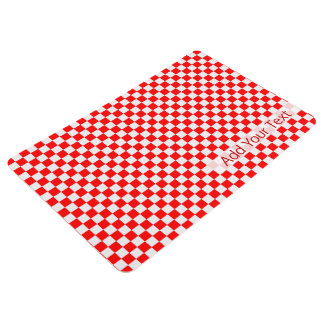 Red And White Classic Checkerboard by STaylor Floor Mat