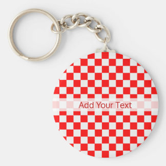 Red And White Classic Checkerboard by STaylor Key Ring