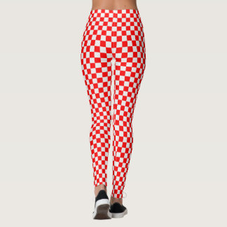 Red And White Classic Checkerboard by STaylor Leggings