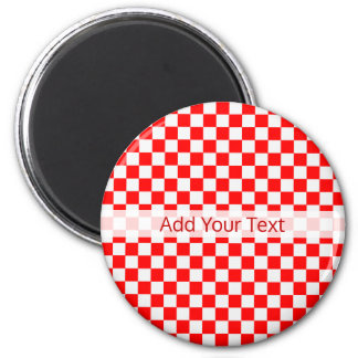 Red And White Classic Checkerboard by STaylor Magnet