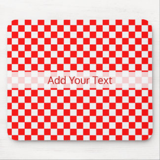 Red And White Classic Checkerboard by STaylor Mouse Pad