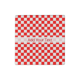 Red And White Classic Checkerboard by STaylor Stone Magnet
