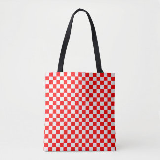 Red And White Classic Checkerboard Tote Bag