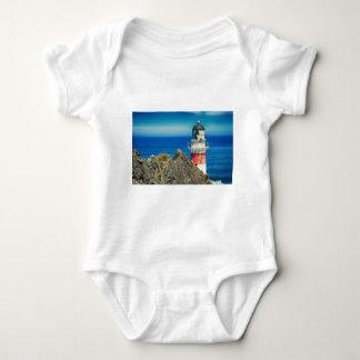 Red and White Coastal Lighthouse Shore Baby Bodysuit