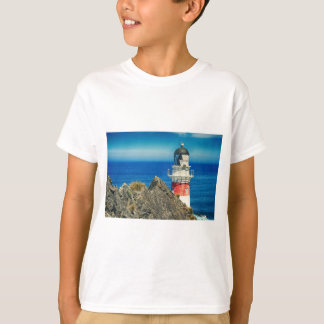 Red and White Coastal Lighthouse Shore T-Shirt