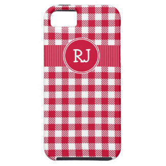 Red and White Country Gingham Plaid Pattern iPhone 5 Case