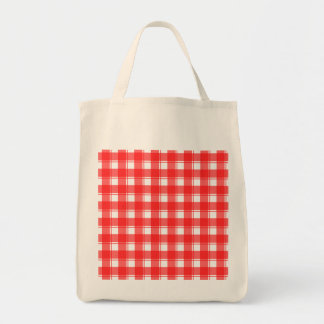 Red and White Country Striped Plaid Grocery Tote Bag