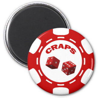 RED AND WHITE CRAPS CHIP 6 CM ROUND MAGNET