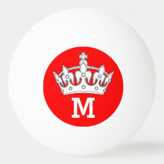 Red and White Crown Monogram Personalized Ping Pong Ball