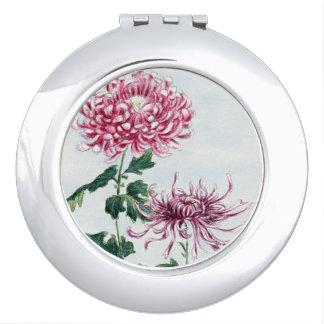 Red and White Crysanthemums Vanity Mirror