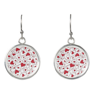 Red and white curly hearts earrings