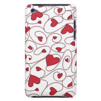 Red and white curly hearts iPod touch covers