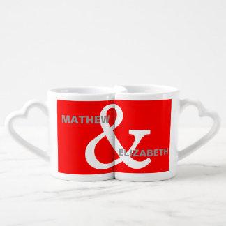 Red and White Custom Ampersand Lovers Names Coffee Mug Set