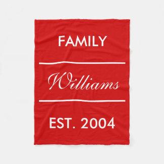 Red And White Custom Family Name Fleece Blanket