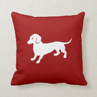 Red and White Dachshund Design Cushion
