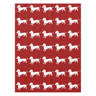 Red and White Dachshund Design Tablecloth