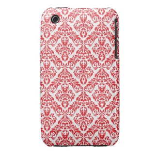 Red and white Damask Design Blackberry Curve case