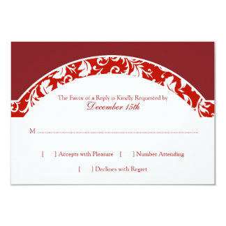 Red and White Damask Photo Wedding RSVP 9 Cm X 13 Cm Invitation Card