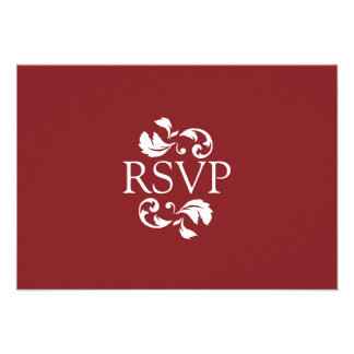 Red and White Damask Photo Wedding RSVP Invite