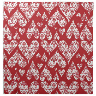 Red and White Damask Valentine Hearts Cloth Napkin