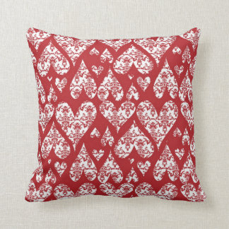 Red and White Damask Valentine Hearts Cushions