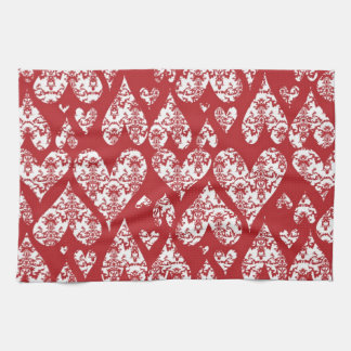 Red and White Damask Valentine Hearts Kitchen Towels
