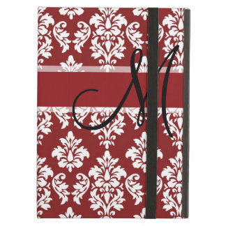 Red and White Damask Your Monogram iPad Air Cover