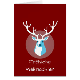 Red And White Deer Fröhliche Weihnachten Card