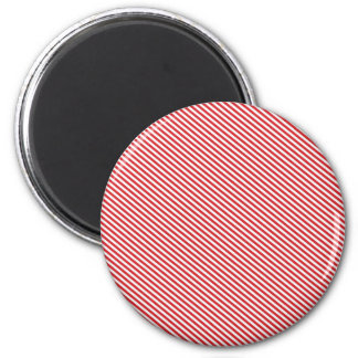 Red and White Diagonal Stripes 6 Cm Round Magnet