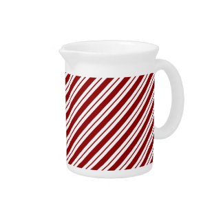 Red and White Diagonal Stripes Pitcher