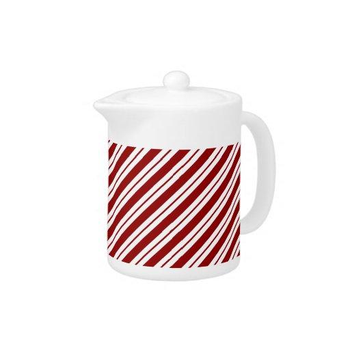 Red and White Diagonal Stripes Teapot