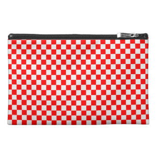 Red And White Diamond-Checkerboard Travel Accessory Bags